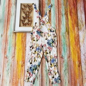 Zara Colorful Floral Cropped Overall Jumpsuit S